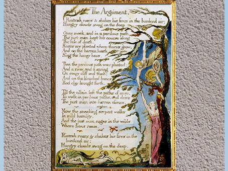 D'après The Marriage of Heaven and Hell (Le Mariage du Ciel et de l'Enfer, de William Blake, 1794, plume, encre, aquarelle, fin XVIIIe siècle. (Marsailly/Blogostelle)