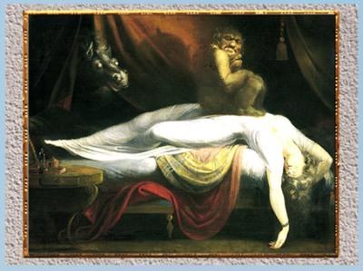 D'après Le cauchemar, troll, de Johann Heinrich Füssli,1781, huile sur toile, fin XVIIIe siècle. (Marsailly/Blogostelle)