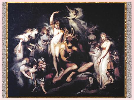 D'après Tatania, reine des fées, et Bottom à tête d'âne, de Johann Heinrich Füssli, vers 1790, huile sur toile, fin XVIIIe siècle. (Marsailly/Blogostelle)