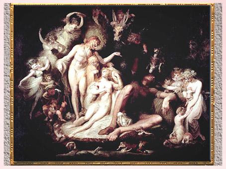 D'après Le Réveil de Titania, de Johann Heinrich Füssli, vers 1785, huile sur toile, fin XVIIIe siècle. (Marsailly/Blogostelle)