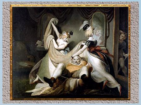 D'après Falstaff dans la corbeille à linge, de Johann Heinrich Füssli, 1792, huile sur toile, fin XVIIIe siècle. (Marsailly/Blogostelle)