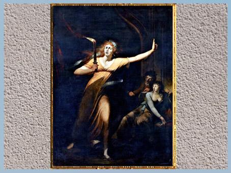 D'après Lady Macbeth somnambule, de Johann Heinrich Füssli, exposé en 1784, à Londres, huile sur toile, fin XVIIIe siècle. (Marsailly/Blogostelle)