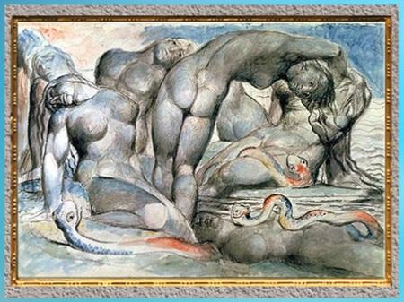 D'après les Cercles de L'Enfer, les Voleurs, Divine Comédie, de William Blake, 1824-1827, plume, encre, aquarelle, début XIXe siècle. (Marsailly/Blogostelle)