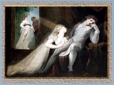 D'après Le retour de l'épouse de Milton (The Return of Milton's Wife), de Johann Heinrich Füssli, 1798 - 1799, huile sur toile, fin XVIIIe siècle. (Marsailly/Blogostelle)