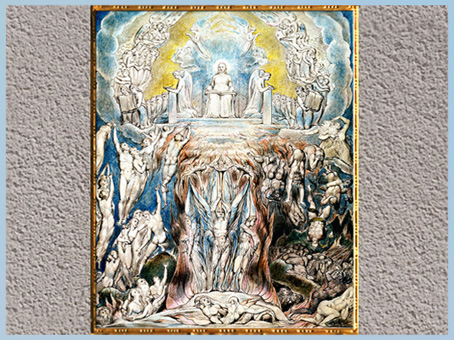 D'après The Last Judgment, William Blake, 1808, The Grave (La Tombe), poème de Robert Blair, plume, encre, aquarelle, début XIXe siècle. (Marsailly/Blogostelle)