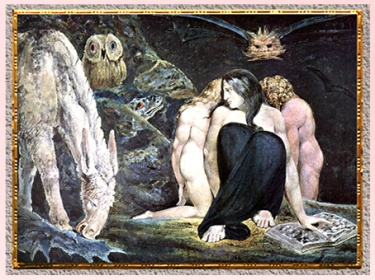 D'après Hecate or The Night or Enitharmon's Joy, de William Blake, vers 1795, plume, encre, aquarelle, fin XVIIIe siècle. (Marsailly/Blogostelle)