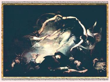 D'après Le Rêve du berger (The Shepherd's Dream), de Johann Heinrich Füssli, 1793, huile sur toile, Le Paradis perdu de John Milton, fin XVIIIe siècle. (Marsailly/Blogostelle)