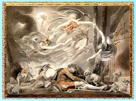 D'après The Shepherd's Dream (Le Rêve du berger), de Johann Heinrich Füssli, crayon, craie et lavis, exposé à la Royal Academy en 1786, fin XVIIIe siècle. (Marsailly/Blogostelle)