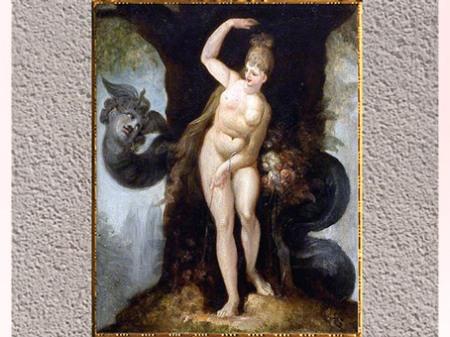 D'après Le serpent tentant Ève, de Johann Heinrich Füssli, huile sur toile, Le Paradis perdu de John Milton,1802, début XIXe siècle. (Marsailly/Blogostelle)