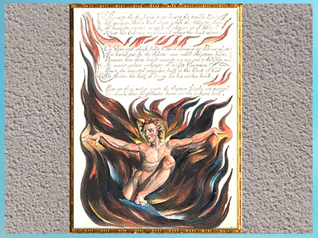 D'après L'apparition d'Orc, de William Blake, America, A Prophecy, Thus Wept the Angel Voice…, 1793, plume, encre, aquarelle, fin XVIIIe siècle. (Marsailly/Blogostelle)