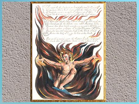 D'après L'apparition d'Orc, de William Blake, America, A Prophecy, Thus Wept the Angel Voice…, 1793, plume, encre, aquarelle, fin XVIIIe siècle. (Marsailly/Blogostelle)
