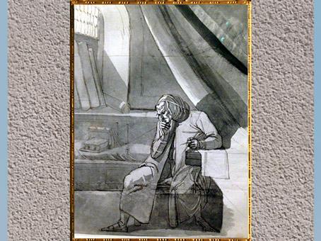 D'après Dante Alighieri dans son studio, de Johann Heinrich Füssli, 1778-1779, crayon et aquarelle, fin XVIIIe siècle. (Marsailly/Blogostelle)
