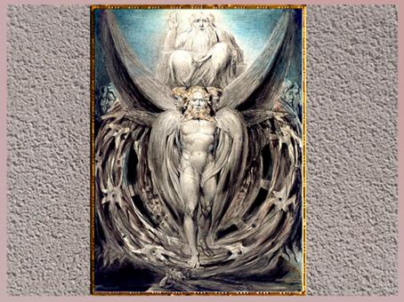 D'après The Whirlwind Ezekiel's Vision of the Cherubim and Eyed Wheels, de William Blake, vers 1803-1805, plume, encre, aquarelle, début XIXe siècle. (Marsailly/Blogostelle