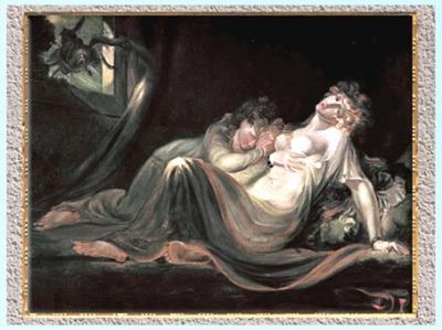 D'après L'Incube laissant deux femmes endormies, de Johann Heinrich Füssli, 1793, huile sur toile, fin XVIIIe siècle. (Marsailly/Blogostelle)