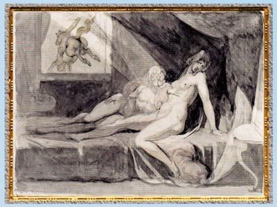 D'après L'Incube laissant deux femmes endormies, de Johann Heinrich Füssli, 1810, plume et aquarelle, début XIXe siècle. (Marsailly/Blogostelle)