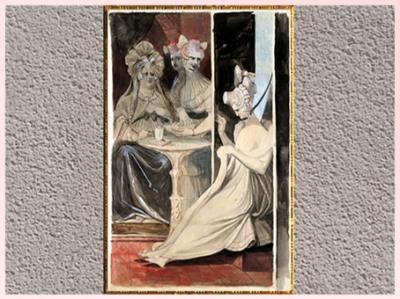 D'après La Débutante, de Johann Heinrich Füssli, crayon, encre, aquarelle, 1807, début XIXe siècle. (Marsailly/Blogostelle)