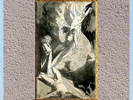 D'après Dante et l'ascension des âmes de Paolo et Francesca, Divine Comédie, étude, de Johann Heinrich Füssli, 1818, plume, encre, lavis, début XIXe siècle.(Marsailly/Blogostelle)