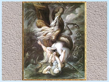 D'après Cavaliers attaqués par un serpent géant, de Johann Heinrich Füssli, vers 1800, aquarelle, fin XVIIIe siècle. (Marsailly/Blogostelle)