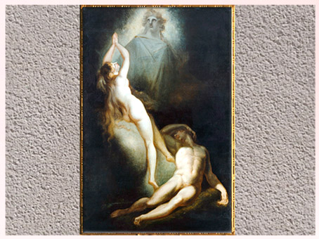 D'après La Création d'Ève, de Johann Heinrich Füssli, 1791-1793, huile sur toile, Le Paradis perdu de John Milton, fin XVIIIe siècle. (Marsailly/Blogostelle)