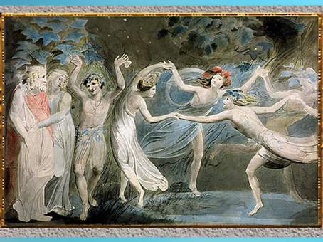 D'après Titania and Puck with Fairies Dancing, de William Blake, Shakespeare Songe d'une nuit d'été, aquarelle, 1786, fin XVIIIe siècle. (Marsailly/Blogostelle)