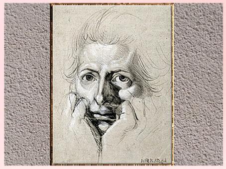 D'après un Autoportrait, de Johann Heinrich Füssli, dessin, craie noire et blanche, vers 1780, fin XVIIIe siècle. (Marsailly/Blogostelle)