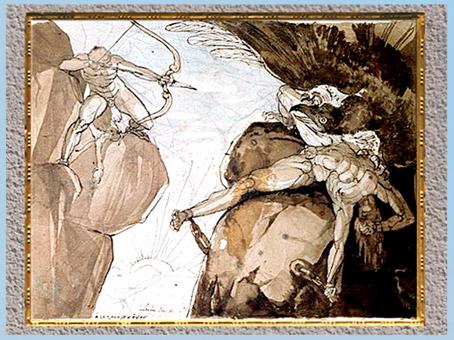 D'après Héraclès tuant l'aigle de Prométhée, de Johann Heinrich Füssli, 1781, mine de plomb, aquarelle, fin XVIIIe siècle. (Marsailly/Blogostelle)
