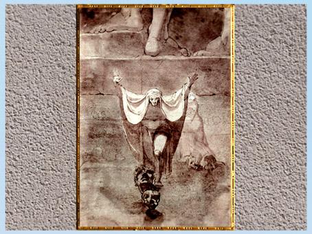 D'après Dante dans le Cocyte (lac glacé), L'Enfer, de Johann Heinrich Füssli, 1774, Divine Comédie, plume et aquarelle, fin XVIIIe siècle. (Marsailly/Blogostelle)