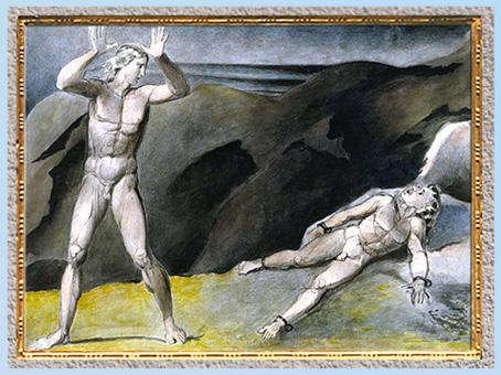 D'après Los et son fils Orc enchaîné dans le roc, de William Blake, 1792-1793, plume, encre, aquarelle, fin XVIIIe siècle. (Marsailly/Blogostelle)