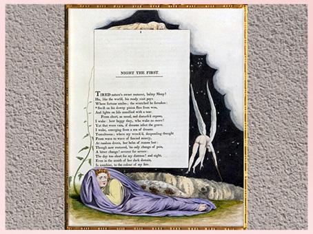 D'après Night Thoughts, Première Nuit, de William Blake,1797, Edward Young, plume, encre, lavis, aquarelle, fin XVIIIe siècle. (Marsailly/Blogostelle)
