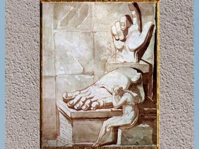 D'après Le Désespoir de l'artiste devant la grandeur des ruines antiques, de Johann Heinrich Füssli, 1778-1880, sanguine et sépia, fin XVIIIe siècle. (Marsailly/Blogostelle)