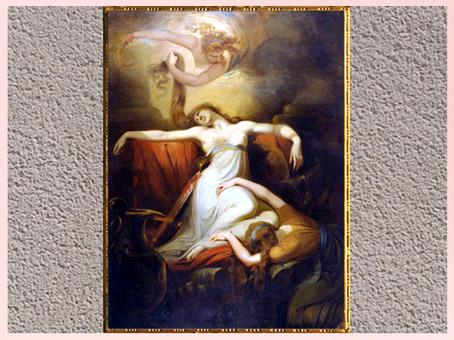 D'après La Mort de Dido, reine de Carthage, de Johann Heinrich Füssli, 1781, huile sur toile, fin XVIIIe siècle. (Marsailly/Blogostelle)