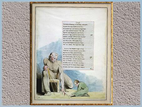 D'après Night VIII, La Géométrie, de William Blake, 1795-1797, Edward Young, plume, encre, lavis, aquarelle, fin XVIIIe siècle. (Marsailly/Blogostelle