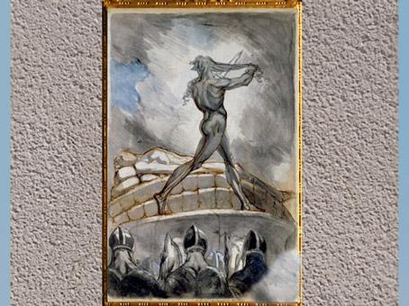 D'après Achille sur le bûcher de Patrocle, de Johann Heinrich Füssli, 1795-1800, crayon, sépia, aquarelle, fin XVIIIe siècle. (Marsailly/Blogostelle)