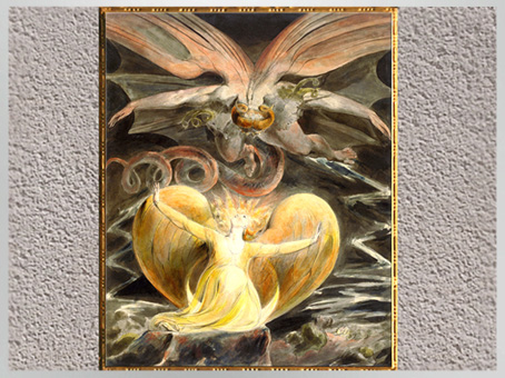 D'après The Great Red Dragon and the Woman Clothed in Sun, Apocalypse, de William Blake,  1805-1810, plume, encre et aquarelle, début XIXe siècle. (Marsailly/Blogostelle)