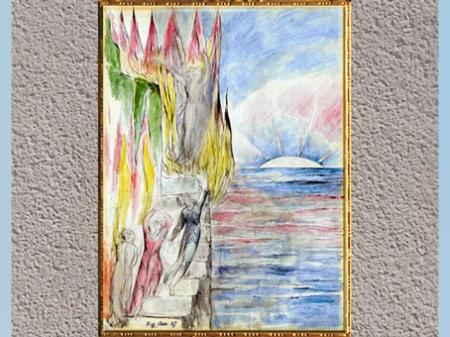 D'après The Angel inviting Dante to enter the Fire, de William Blake, Divine Comédie (Purgatoire), 1824-1827, plume, encre, aquarelle, début XIXe siècle. (Marsailly/Blogostelle)