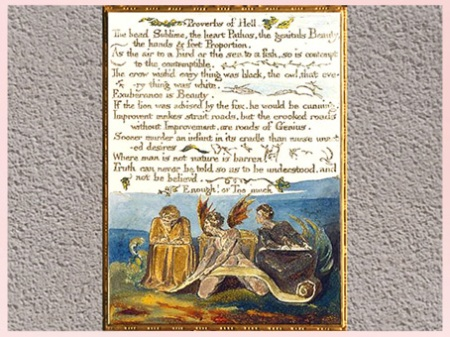 D'après Proverbs of Hell, The Marriage of Heaven and Hell, de William Blake, 1794, plume, encre, aquarelle, fin XVIIIe siècle. (Marsailly/Blogostelle)
