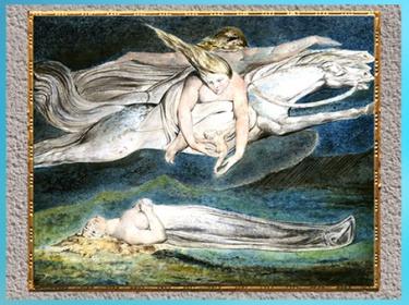 D'après Pity (la Pitié), de William Blake, 1795, selon Macbeth de Shakespeare, aquarelle, plume et encre, fin XVIIIe siècle. (Marsailly/Blogostelle)