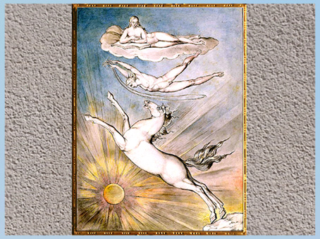 D'après As If An Angel Dropped Down From the Clouds, de William Blake, 1809, plume, encre, aquarelle, début XIXe siècle. (Marsailly/Blogostelle)