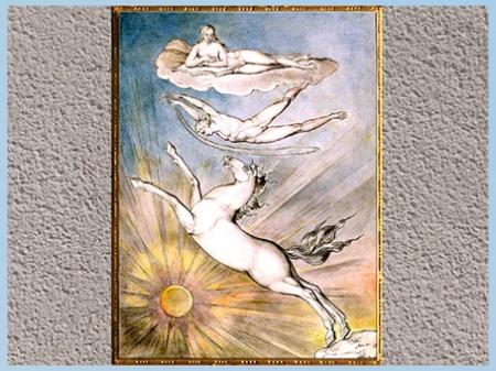 D'après As If An Angel Dropped Down From the Clouds, de William Blake, 1809, plume, encre, aquarelle, début XIXe siècle. (Marsailly/Blogostelle)