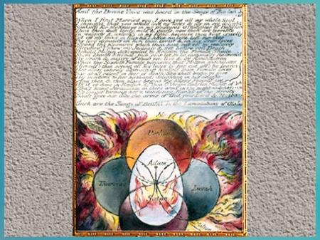 D'après And the Divine Voice Was Heard, manuscrit Vala dit Les Quatre Zoas, de William Blake, 1796-1807, eau-forte, planche 34,  début XIXe siècle. (Marsailly/Blogostelle)
