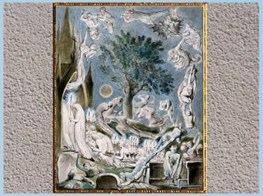 D'après The Jugement, de William Blake, 1805, plume, encre, aquarelle, The Grave, Robert Blair, début XIXe siècle. (Marsailly/Blogostelle)