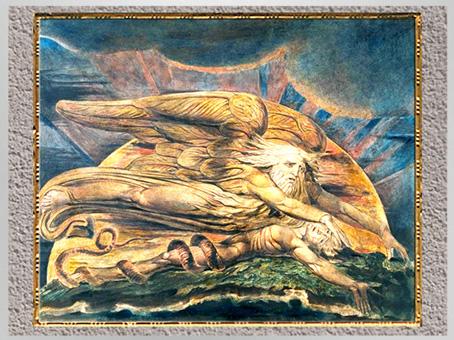 D'après La Création d'Adam, de William Blake, 1795-1805, La Genèse, plume, encre, aquarelle, fin XVIIIe siècle. (Marsailly/Blogostelle)