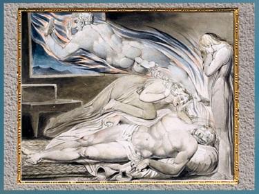 D'après Death of the Strong Wicked Man, William Blake,  The Grave, de Robert Blair, encre et aquarelle, XIXe siècle. (Marsailly/Blogostelle)