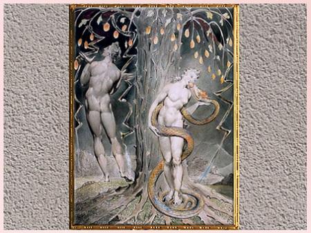 D'après La Tentation d'Ève, de William Blake, Paradise Lost de John Milton, 1808, plume, encre, aquarelle, début XIXe siècle. (Marsailly/Blogostelle)