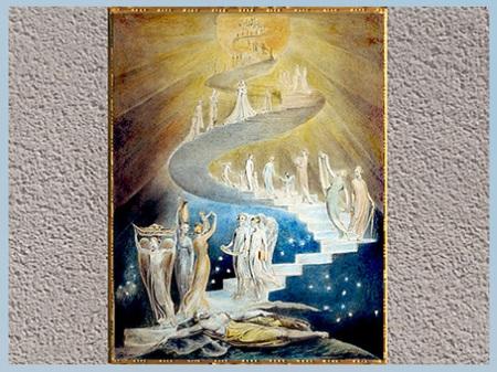 D'après Jacob's Ladder, de William Blake, 1805, plume, encre et aquarelle, début XIXe siècle. (Marsailly/Blogostelle)