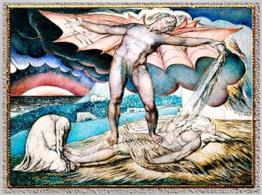 D'après Satan Smiting Job with Sore Boils, de William Blake, 1826, Livre de Job, encre et tempera, début XIXe siècle. (Marsailly/Blogostelle)