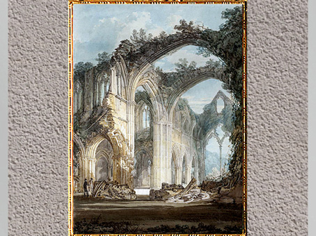 D'après Tintern Abbey, The Crossing and Chancel, de William Turner, 1794, crayon et aquarelle, fin XVIIIe siècle. (Marsailly/Blogostelle)
