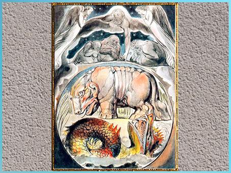 D'après Béhémoth et Léviathan, de William Blake, Livre de Job, 1805-1810, plume, encre, lavis gris et aquarelle, XIXe siècle. (Marsailly/Blogostelle)