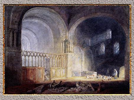 D'après le prieuré d'Ewenny, Glamorganshire, William Turner, 1797, aquarelle, fin XVIIIe siècle. (Marsailly/Blogostelle)