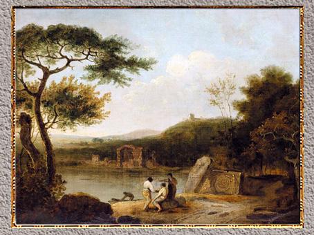 D'après le Le lac Averne, Énée et la Sibylle de Cumes, William Turner, 1798, huile sur toile, fin XVIIIe siècle. (Marsailly/Blogostelle)